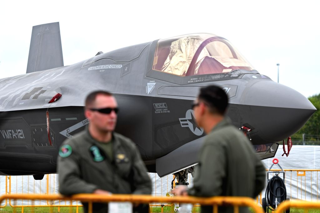 SINGAPORE, Feb. 7, 2018 - A F-35B Lightning II fighter jet is on display during the Singapore Airshow in Changi Exhibition Centre in Singapore on Feb. 7, 2018. The biennial Singapore Airshow kicked ...