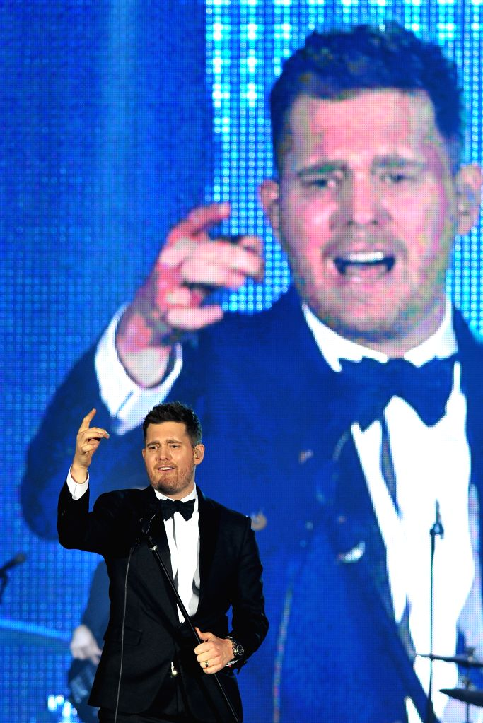Singer Michael Buble performs at a concert in Singapore's Marina Bay Sands, Jan. 16, 2015. Michael Buble began his two-day concert in Marina Bay Sands on Friday. .