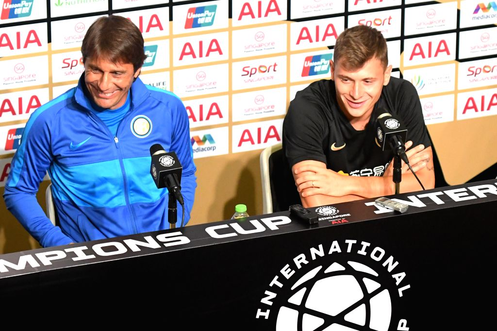 SINGAPORE, July 19, 2019 - Inter Milan's head coach Antonio Conte (L) and player Nicolo Barella attend a press conference ahead of the International Champions Cup football match against Manchester ...