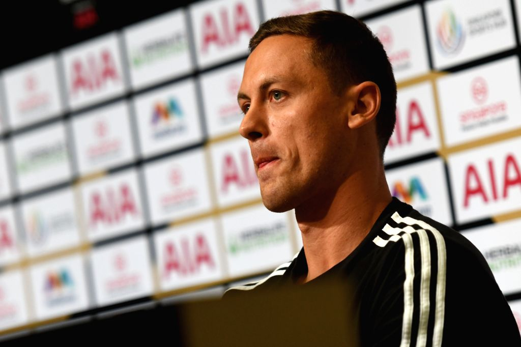 SINGAPORE, July 19, 2019 - Manchester United's player Nemanja Matic attends a pre-match press conference prior to the International Champions Cup football match between Manchester United of Britain ...