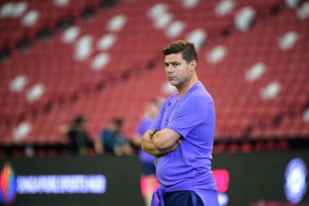 SINGAPORE, July 19, 2019 - Tottenham Hotspur's manager Mauricio Pochettino looks on during a training session ahead of the International Champions Cup football match against Italy's Juventus, in ...