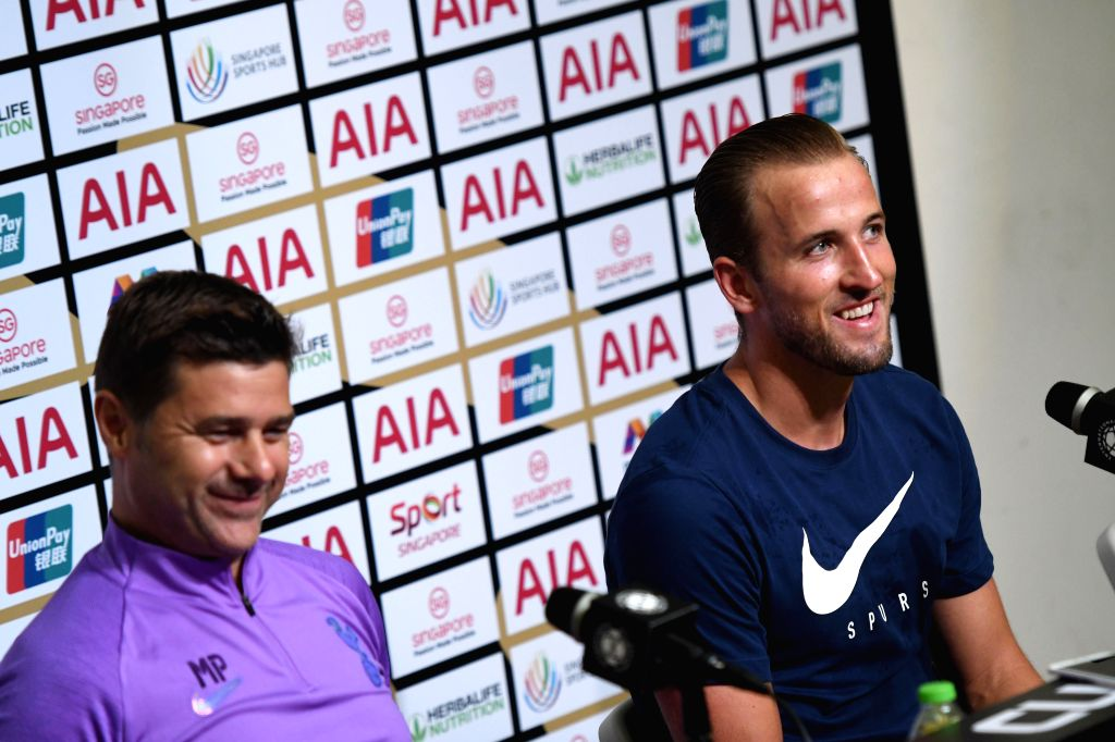 SINGAPORE, July 19, 2019 - Tottenham Hotspur's manager Mauricio Pochettino (L) and player Harry Kane attend a press conference ahead of the International Champions Cup football match against Italy's ...
