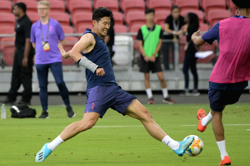 SINGAPORE, July 19, 2019 - Tottenham Hotspur's Son Heung-Min attends a training session ahead of the International Champions Cup football match against Italy's Juventus, in Singapore on July 19, ...