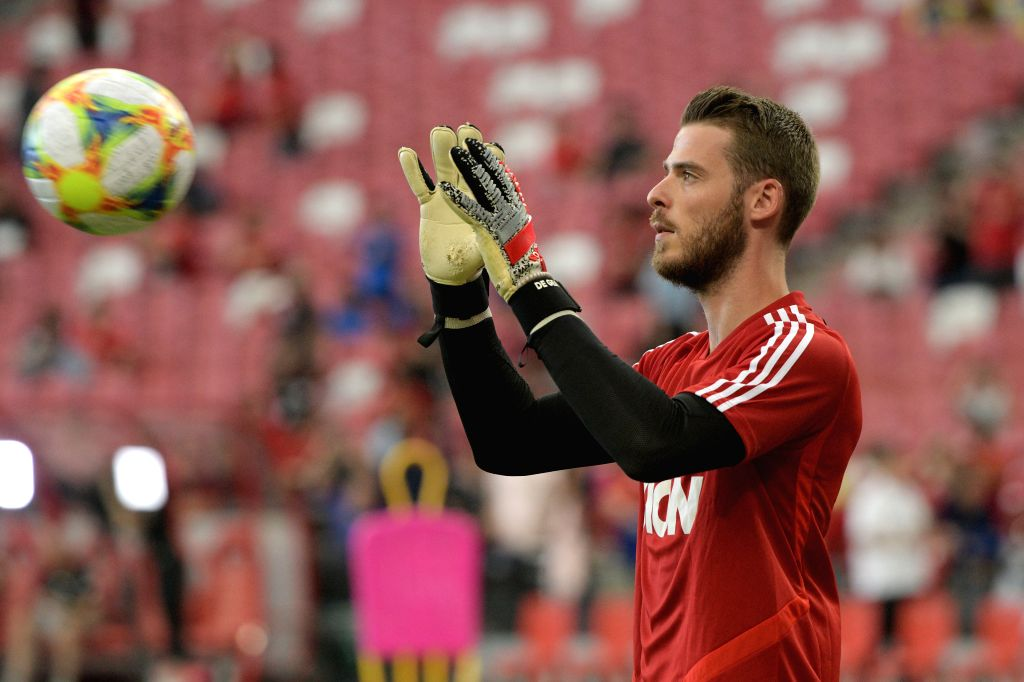 SINGAPORE, July 19, 2019 (Xinhua) -- David De Gea of Manchester United attends a training session ahead of the International Champions Cup football match against Inter Milan in Singapore on July 19, 2019. (Xinhua/Then Chih Wey/IANS)