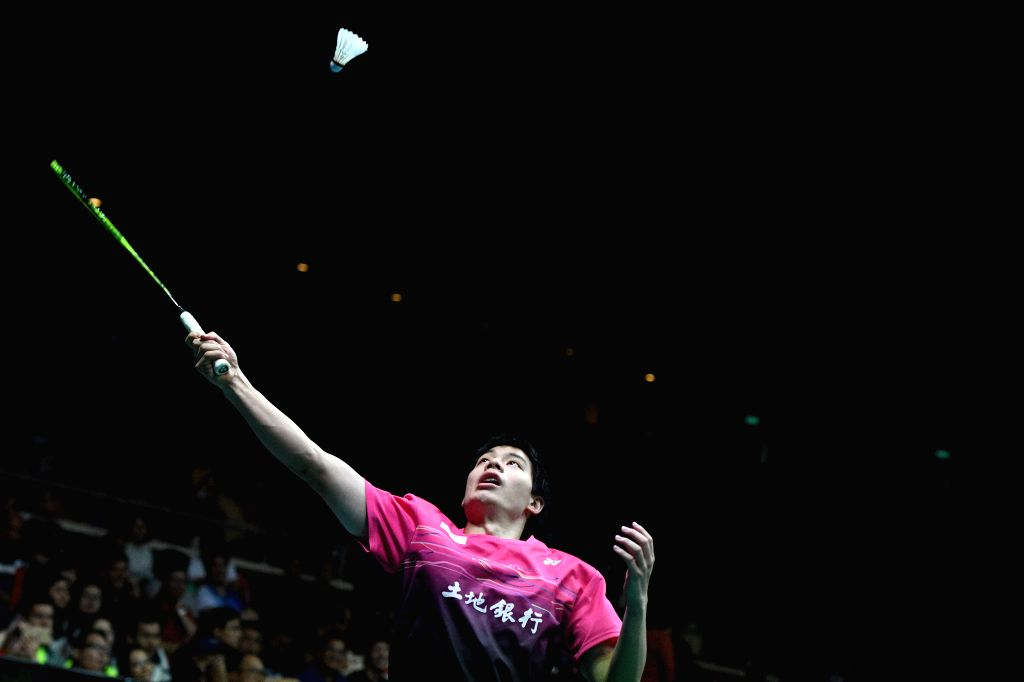 SINGAPORE, July 21, 2018 - Hsu Jen Hao of Chinese Taipei hits a return during the men's singles semi-final match against Tien Minh Nguyen of Vietnam at 2018 Singapore Badminton Open held at Singapore ...