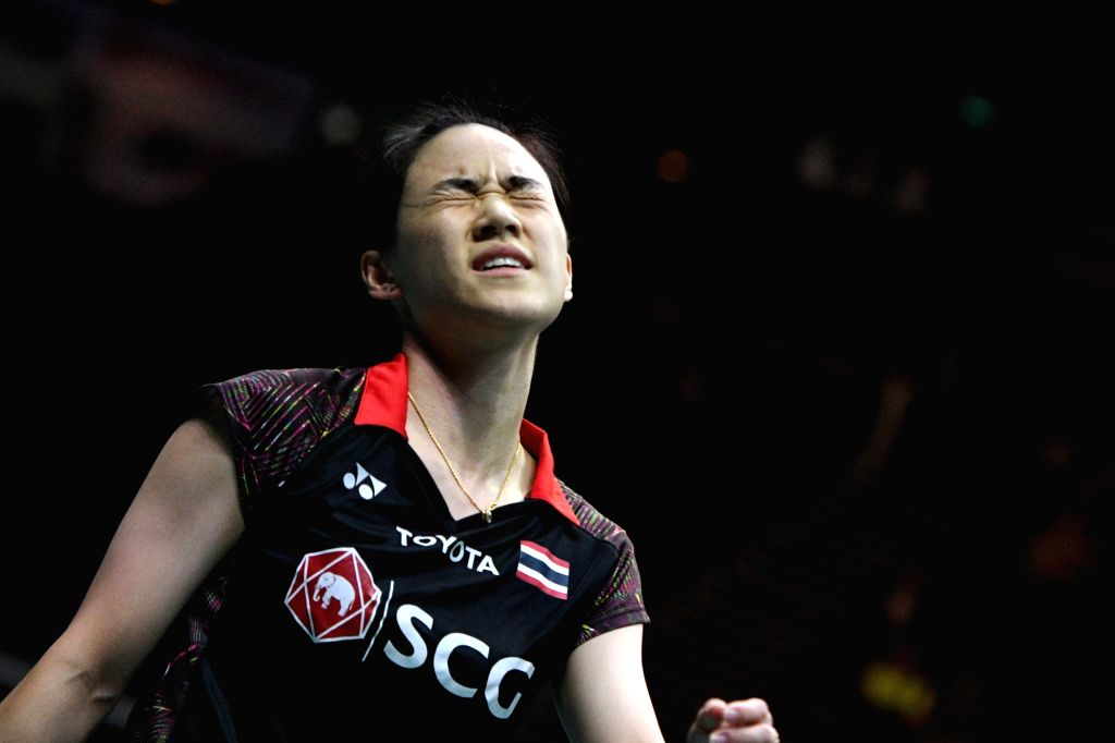 SINGAPORE, July 21, 2018 - Nitchaon Jindapol of Thailand reacts during the women's singles semifinal match against Gao Fangjie of China at 2018 Singapore Badminton Open in Singapore, on July 21, ...