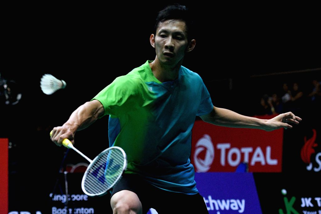 SINGAPORE, July 21, 2018 - Tien Minh Nguyen of Vietnam hits a return during the men's singles semi-final match against Hsu Jen Hao of Chinese Taipei at 2018 Singapore Badminton Open held at Singapore ...