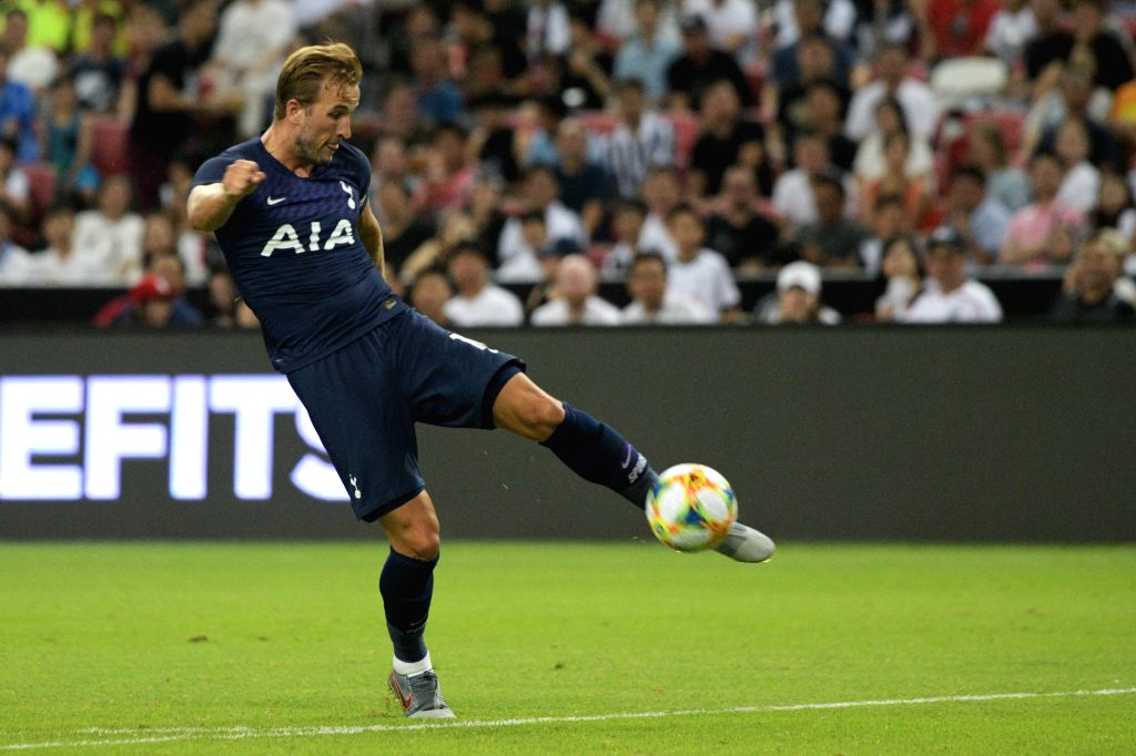 SINGAPORE, July 21, 2019 - Harry Kane of Tottenham Hotspur shoots during the International Champions Cup football match between Tottenham Hotspur and Juventus in Singapore, on July 21, 2019.
