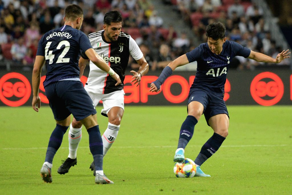 SINGAPORE, July 21, 2019 - Son Heung-min (1st R) of Tottenham Hotspur competes during the International Champions Cup football match between Tottenham Hotspur and Juventus in Singapore, on July 21, ...