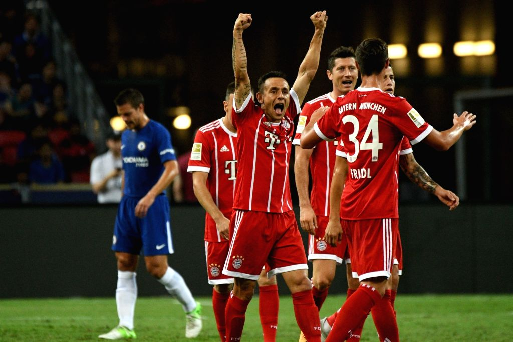 SINGAPORE, July 25, 2017 - Players of Bayern Munich celebrate after scoring during the International Champions Cup soccer match between Chelsea and Bayern Munich in Singapore's National Stadium, on ...