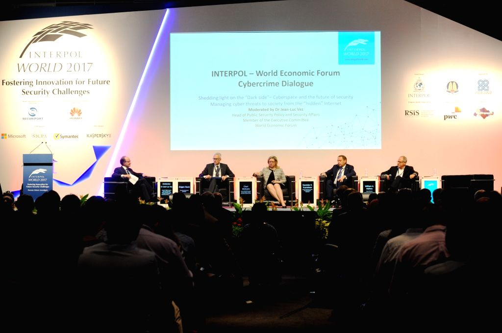 SINGAPORE, July 4, 2017 - A panel discussion is held during the International Criminal Police Organization (Interpol) World Congress in Singapore on July 4, 2017. The three-day Interpol World ...