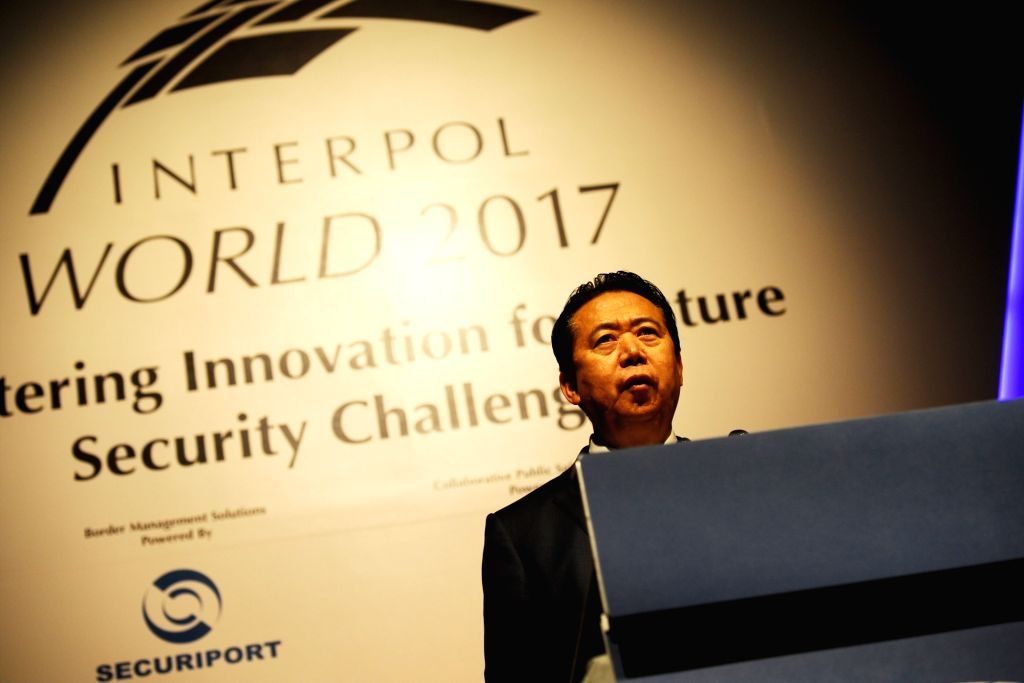 SINGAPORE, July 4, 2017 - President of the International Criminal Police Organization (Interpol) Meng Hongwei speaks at the opening of the Interpol World Congress in Singapore on July 4, 2017. The ...