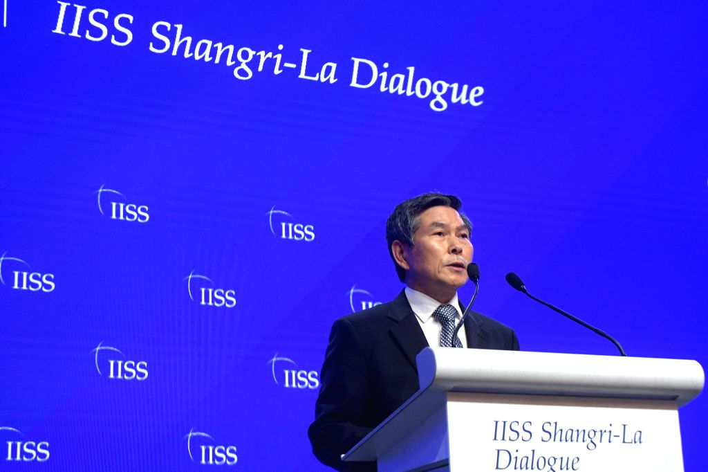 SINGAPORE, June 1, 2019 - South Korean Defense Minister Jeong Kyeong-doo attends the 18th Shangri-La Dialogue held in Singapore, June 1, 2019. South Korean and Japanese defense ministers and the EU ... - Jeong Kyeong