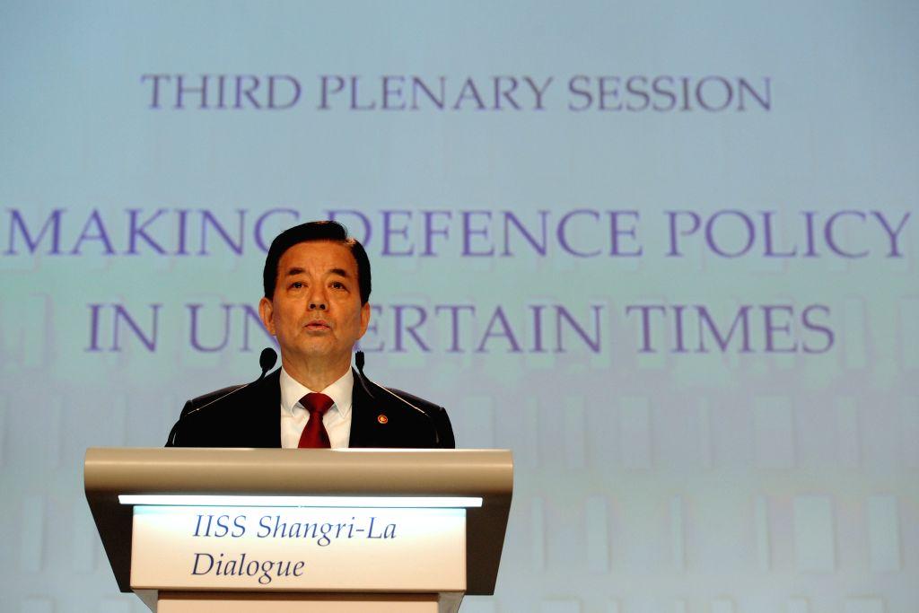 SINGAPORE, June 4, 2016 - South Korean Defense Minister Han Minkoo attends the 15th Shangri-La Dialog in Singapore, June 4, 2016. The 15th Shangri-La Dialog enters the second day in Singapore on ... - Han Minkoo