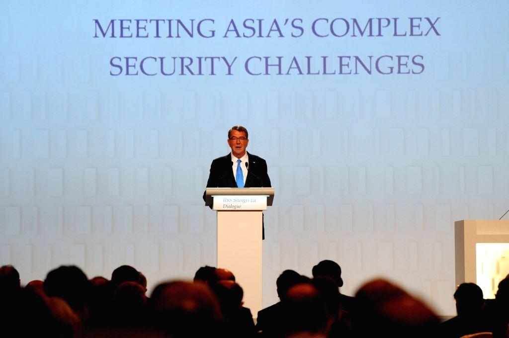 SINGAPORE, June 4, 2016 - U.S. Defense Secretary Ashton Carter attends the 15th Shangri-La Dialog in Singapore, June 4, 2016. The 15th Shangri-La Dialog enters the second day in Singapore on Saturday.