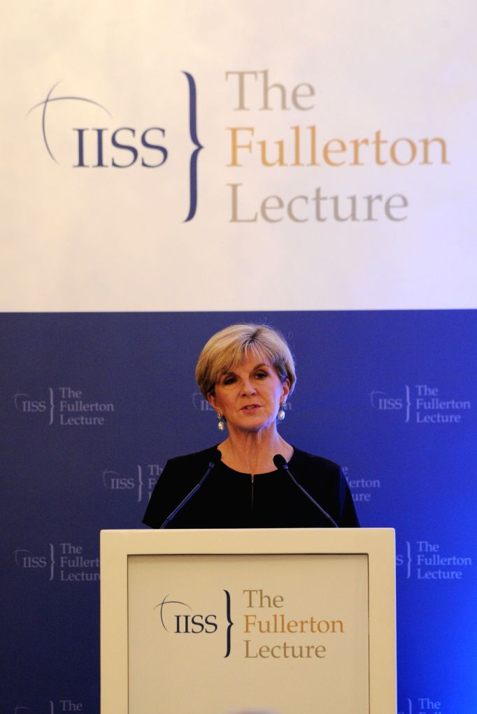 SINGAPORE, March 13, 2017 - Australia's Foreign Minister Julie Bishop speaks during the Fullerton Lecture held in Singapore on March 13, 2017. (Xinhua/Then Chih Wey) - Julie Bishop