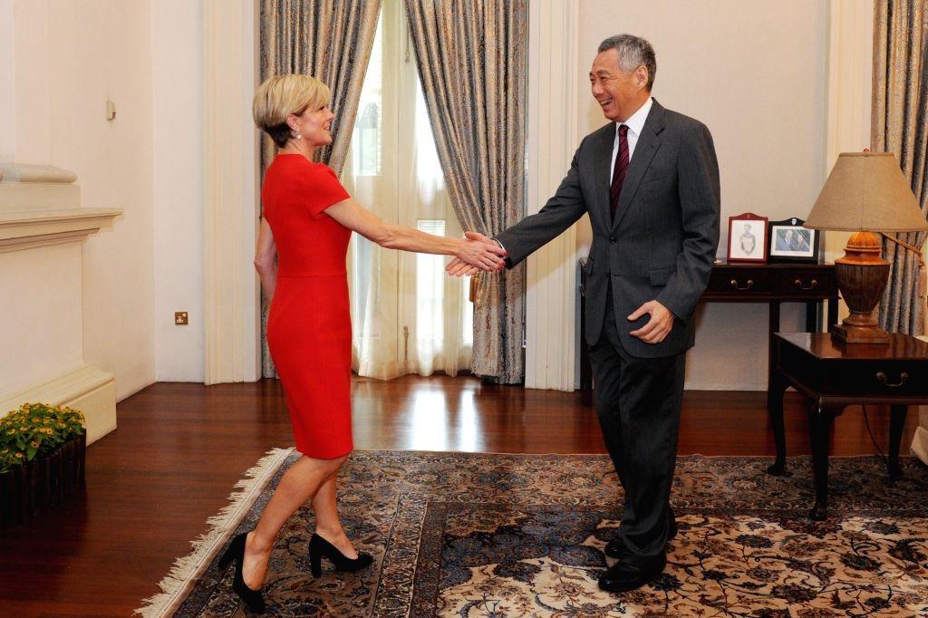 SINGAPORE, March 13, 2017 - Singapore's Prime Minister Lee Hsien Loong (R) meets with Australia's Foreign Minister Julie Bishop at Singapore's Istana on March 13, 2017. (Xinhua/Then Chih Wey) - Lee Hsien Loong