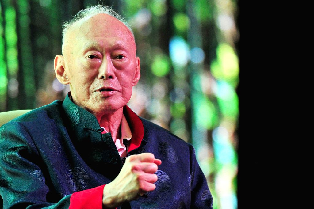 Singapore's former Prime Minister Lee Kuan Yew speaks at the Standard Chartered Singapore Forum in Singapore, March 20, 2013. Singapore's former Prime Minister ...