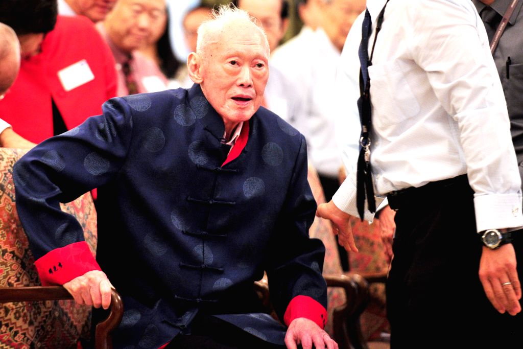 File photo taken on Aug. 6, 2013 shows Singapore's former Prime Minister Lee Kuan Yew attending his new book launch at Singapore's Istana. Singapore's former ...