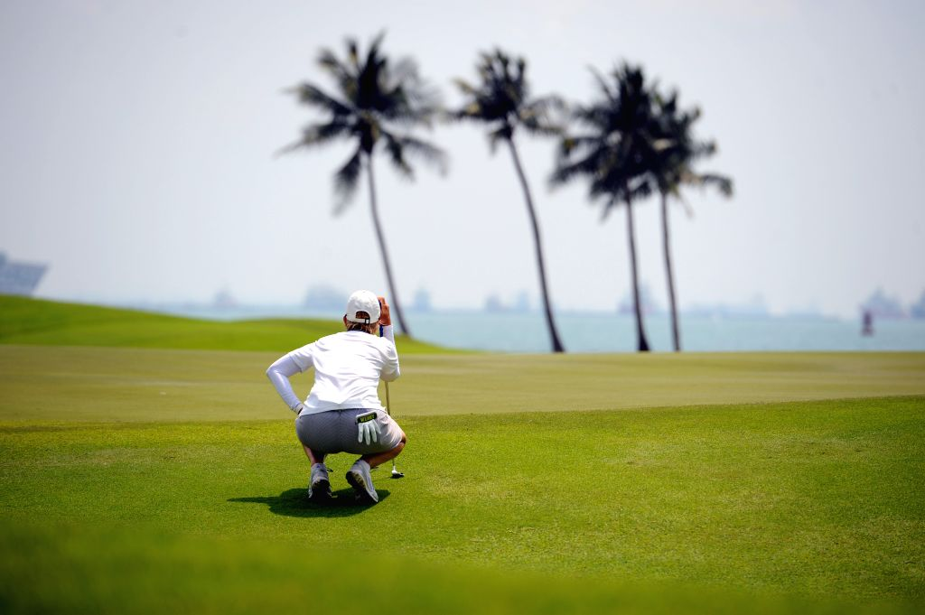 Karrie Webb of Australia competes during the second day match of 2015 HSBC Women's Champions golf tournament at Singapore's Sentosa Golf Club Serapong Course, ...