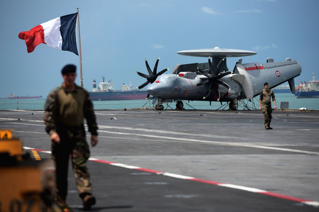 SINGAPORE, May 28, 2019 - An E-2C Hawkeye aircraft is seen on the flight deck of French aircraft carrier Charles de Gaulle docked at Changi Naval Base, Singapore, May 28, 2019.