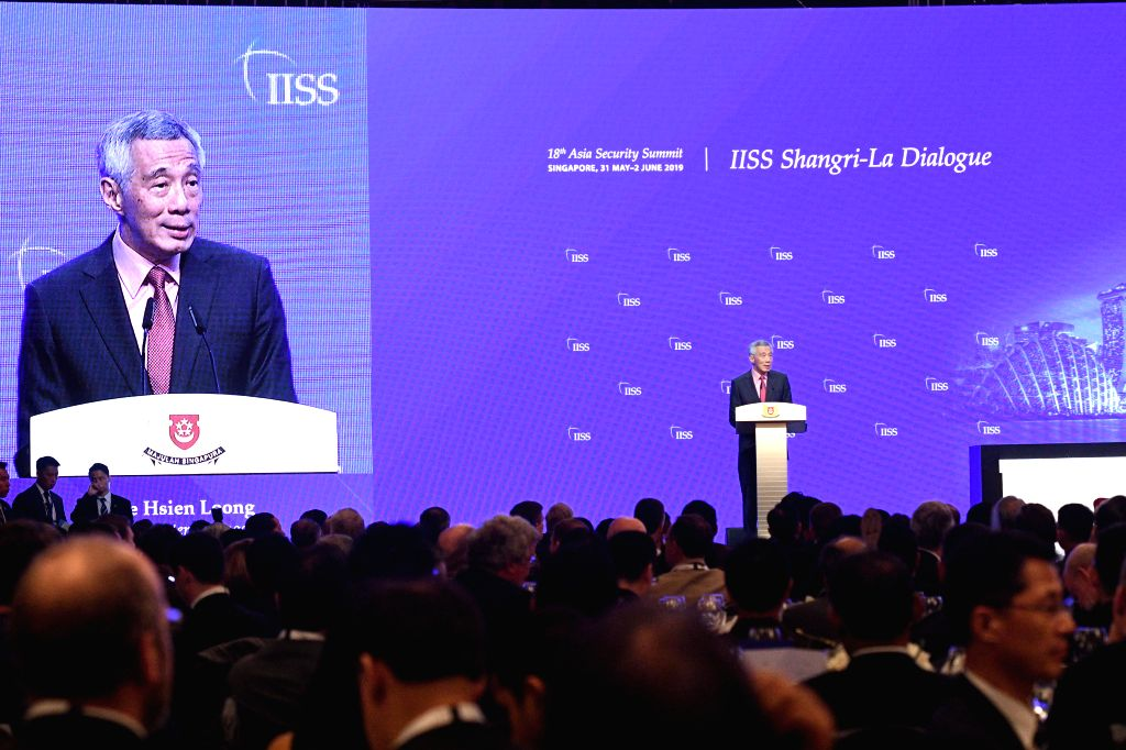 SINGAPORE, May 31, 2019 - Singaporean Prime Minister Lee Hsien Loong delivers a keynote speech at the 18th Shangri-La Dialogue held in Singapore, May 31, 2019. The 18th Shangri-La Dialogue opened ... - Lee Hsien Loong