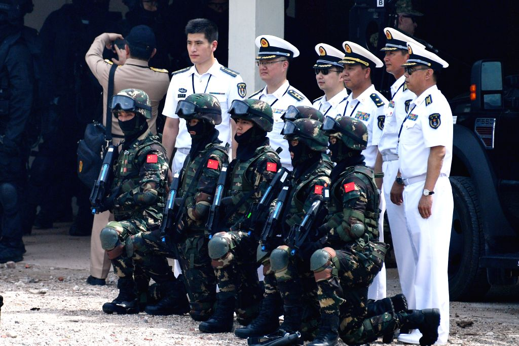SINGAPORE, May 9, 2016 - China's counter-terrorism team takes part in the taking down of the terrorist hideout during the ASEAN Defence Ministers' Meeting Plus Maritime Security and Counter Terrorism ...
