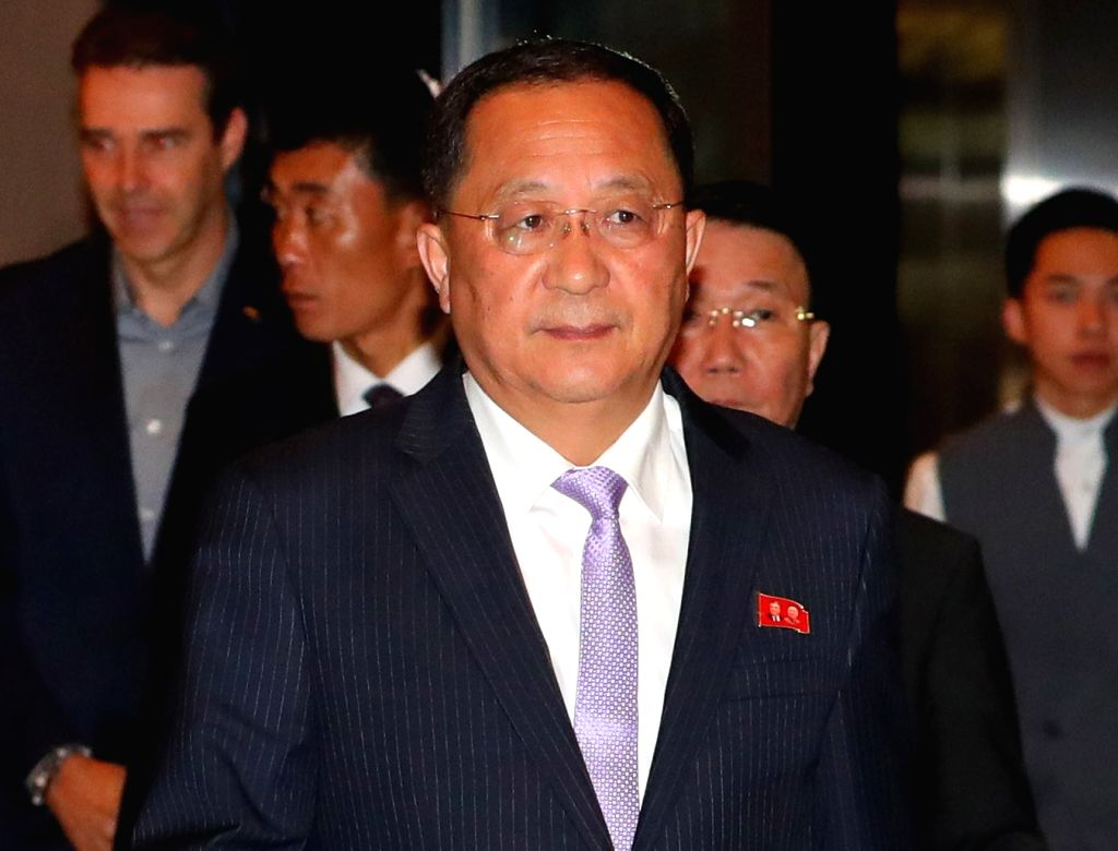Singapore: North Korean Foreign Minister Ri Yong-ho enters a hotel in Singapore on Aug. 3, 2018, after flying into the city-state to attend the ASEAN Regional Forum.(Yonhap/IANS) - R