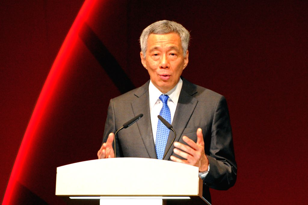 SINGAPORE, Oct. 10, 2016 - Singapore's Prime Minister Lee Hsien Loong speaks at the Singapore International Cyber Week in Singapore, Oct. 10, 2016. The Singapore International Cyber Week kicked off ... - Lee Hsien Loong