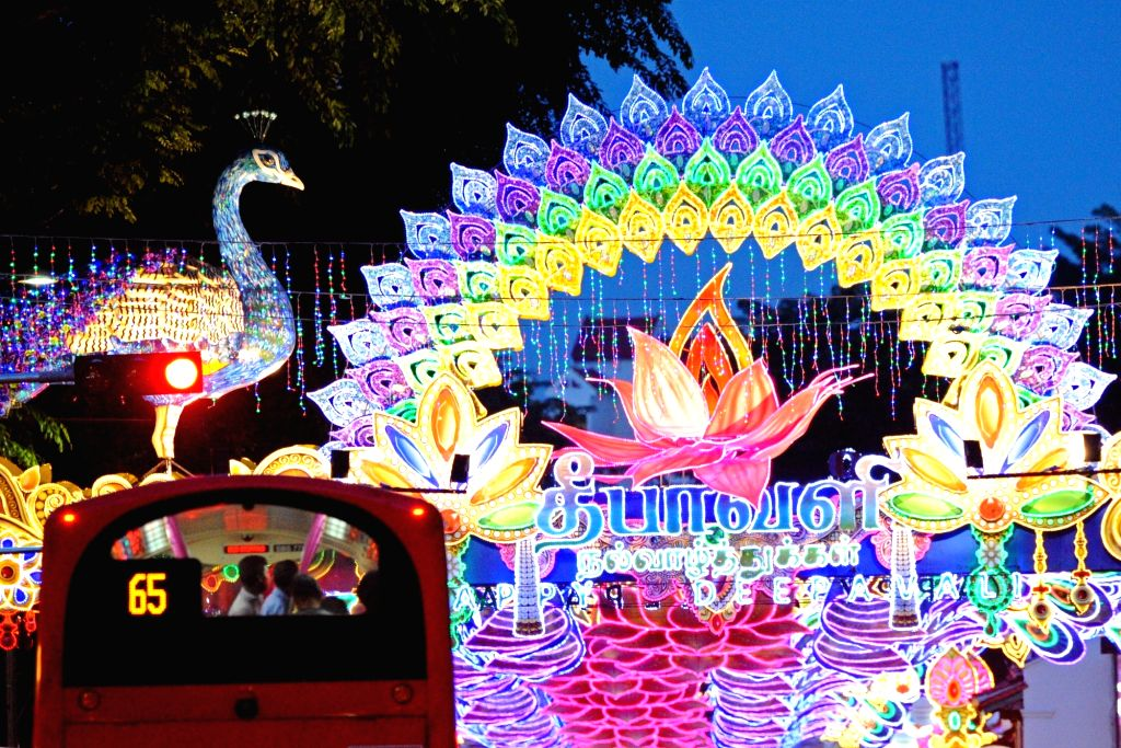 SINGAPORE, Oct. 22, 2016 - Photo taken on Oct. 22, 2016 shows decorative lights for the Deepavali Festival at Serangoon Road in Singapore's Little India. Deepavali Festival, or Festival of Lights, ...