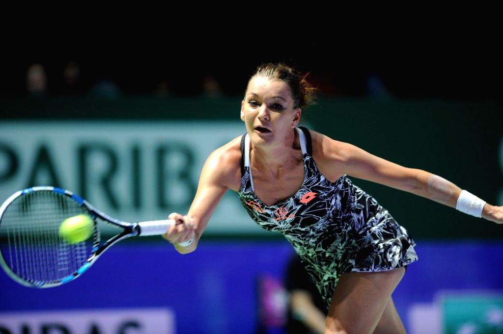 SINGAPORE, Oct. 29, 2016 - Agnieszka Radwanska of Poland competes during the WTA Finals semi-final match against Angelique Kerber of Germany at Singapore Indoor Stadium, Oct. 29, 2016. Angelique ...