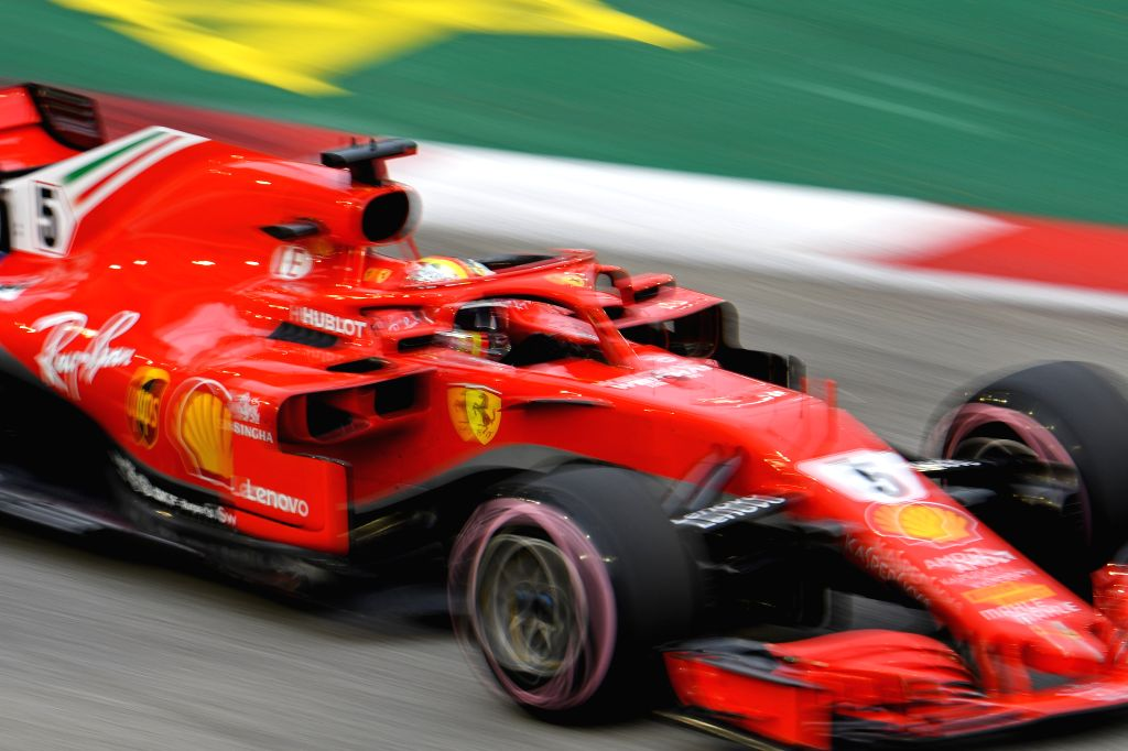 SINGAPORE, Sept. 15, 2018 - Ferrari's driver Sebastian Vettel of Germany drives in the third practice session of the Formula One Singapore Grand Prix Night Race held at the Marina Bay Street Circuit ...