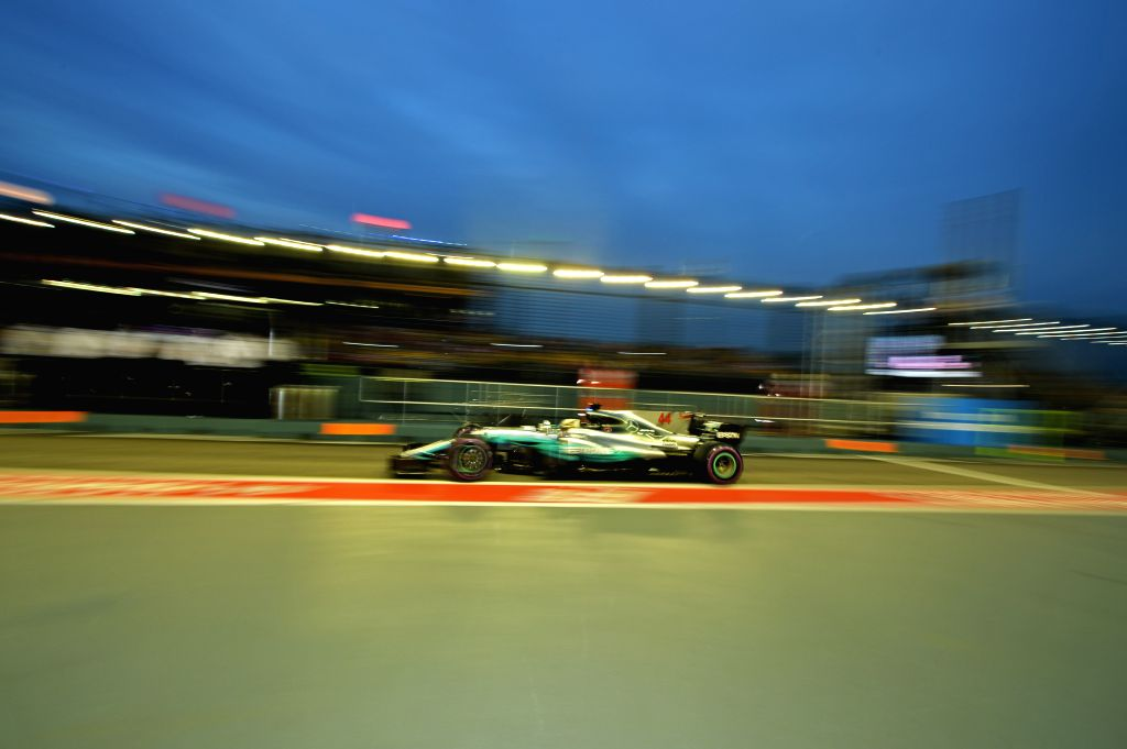 SINGAPORE, Sept. 16, 2017 - Mercedes' British driver Lewis Hamilton drives during the third practice session of the Formula One Singapore Grand Prix in Singapore on Sept. 16, 2017.