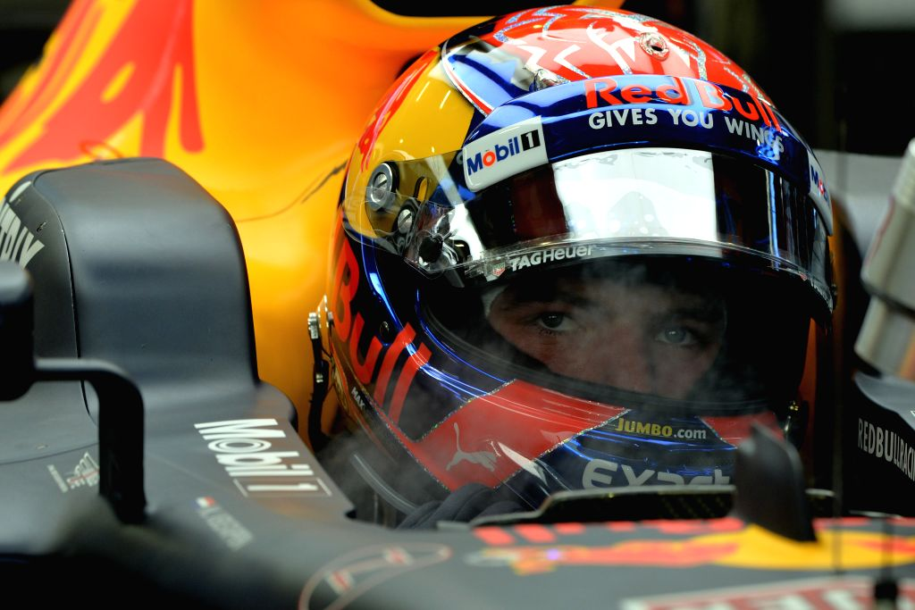 SINGAPORE, Sept. 16, 2017 - Red Bull Racing Tag Heuer's Dutch driver Max Verstappen looks on during the third practice session of the Formula One Singapore Grand Prix in Singapore on Sept. 16, 2017. ...