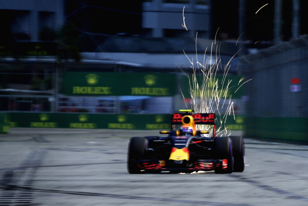 SINGAPORE, Sept. 17, 2016 - Red Bull driver Max Verstappen of the Netherland drives during the third practice session on Day 2 of 2016 Singapore F1 Grand Prix Night Race, Sept. 17, 2016.