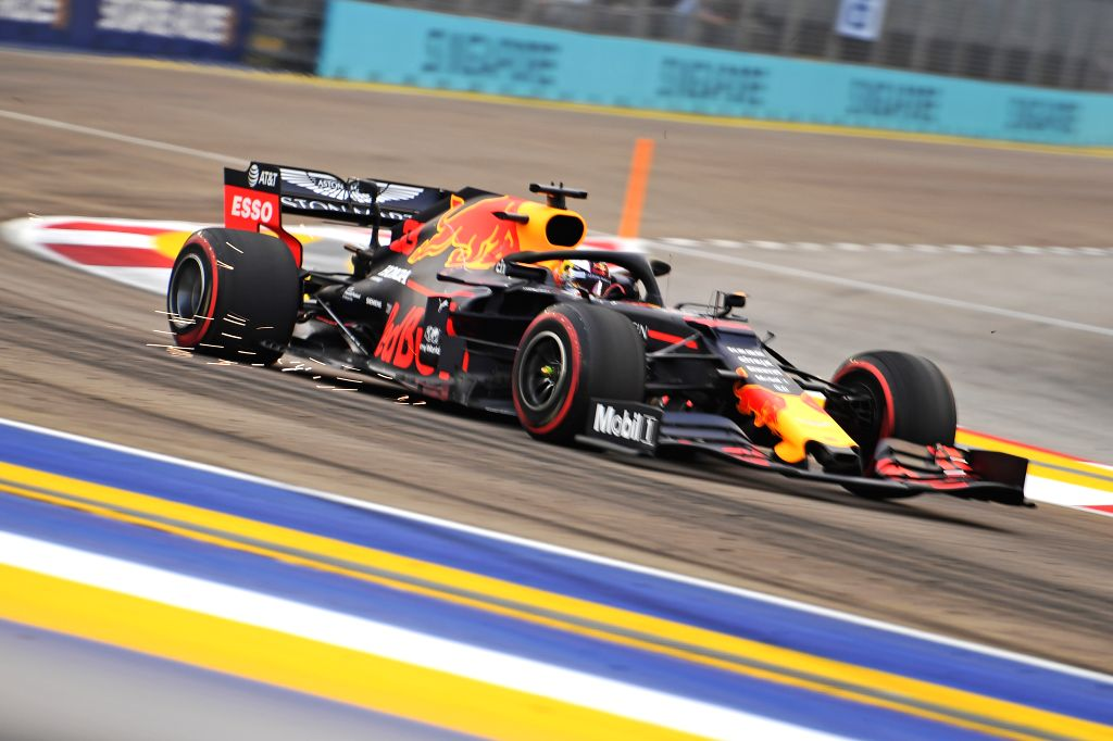 SINGAPORE, Sept. 20, 2019 - Max Verstappen of Red Bull drives during the first practice session of the Formula One Singapore Grand Prix held at the Marina Bay Street Circuit in Singapore on Sept. 20, ...
