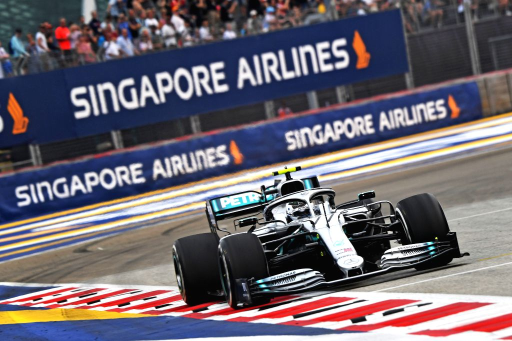 SINGAPORE, Sept. 20, 2019 - Valtteri Bottas of Mercedes drives during the first practice session of the Formula One Singapore Grand Prix held at the Marina Bay Street Circuit in Singapore on Sept. ...