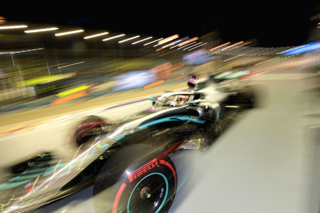 SINGAPORE, Sept. 21, 2019 - British driver Lewis Hamilton of Mercedes competes during the second practice session of the Formula One Singapore Grand Prix held at the Marina Bay Street Circuit in ...