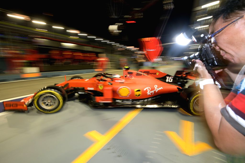 SINGAPORE, Sept. 21, 2019 - French driver Charles Leclerc of Ferrari drives out of the pit during the second practice session of the Formula One Singapore Grand Prix held at the Marina Bay Street ...