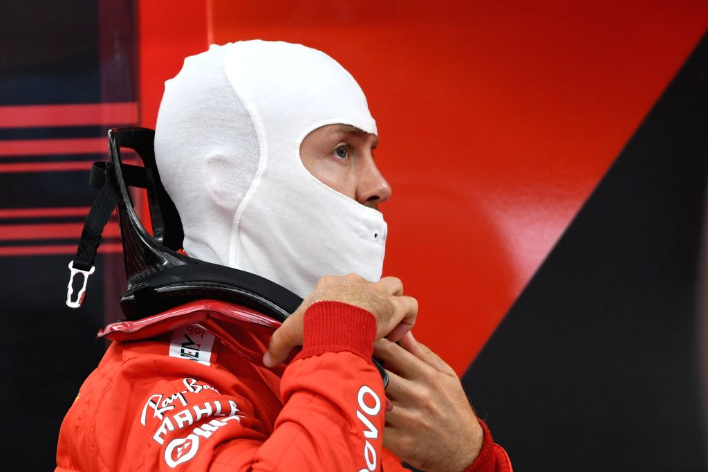 SINGAPORE, Sept. 21, 2019 - German driver Sebastian Vettel of Ferrari prepares during the second practice session of the Formula One Singapore Grand Prix held at the Marina Bay Street Circuit in ...