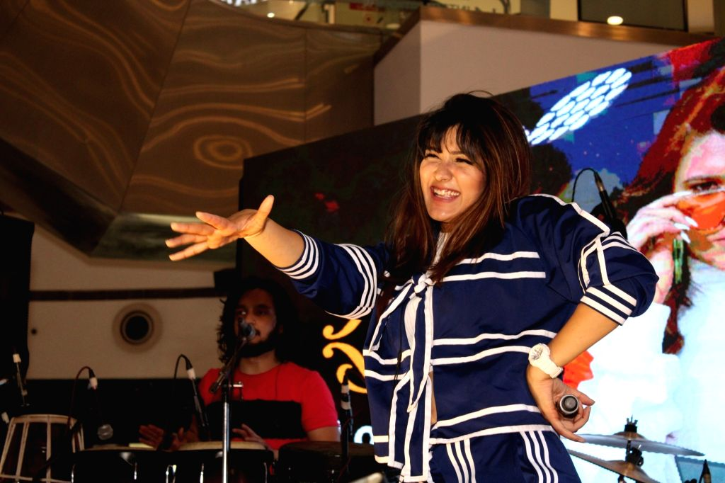 Singer Aastha Gill performs during a programme in Noida on May 31, 2019.