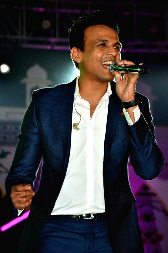 Singer Abhijeet Sawant performs during Taj Mahotsav in Agra on March 24, 2017.