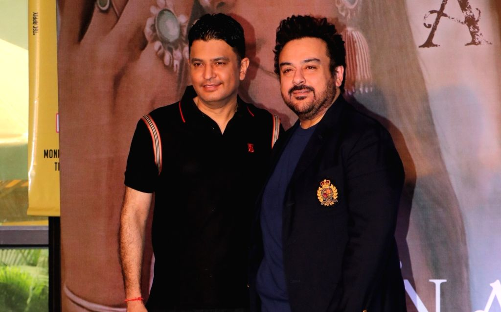 Singer Adnan Sami and T-series MD and producer Bhushan Kumar at the launch of their music album 'Tu Yaad Aya' in Mumbai on Feb 10, 2020. - Adnan Sami and Bhushan Kumar