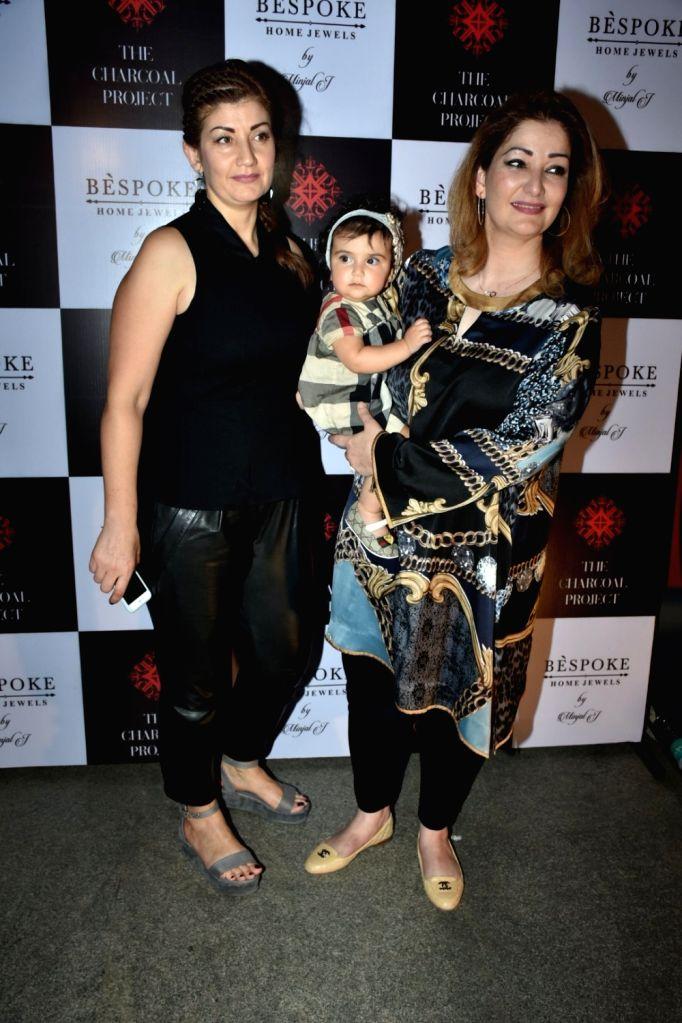 Singer Adnan Sami's wife Roya Faryabi with her daughter Medina Sami Khan at a store launch in Mumbai on April 13, 2018 . - Sami Khan