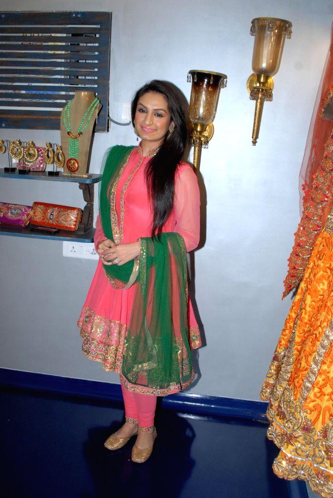 Singer Akriti Kakkar during the store opening of designer Mayyur Girotra in Mumbai, on April 18, 2014.