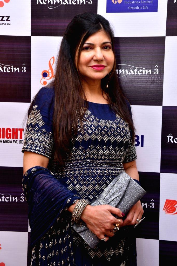 "Singer Alka Yagnik during the musical concert  ""Rehmatein 3"" in Mumbai."