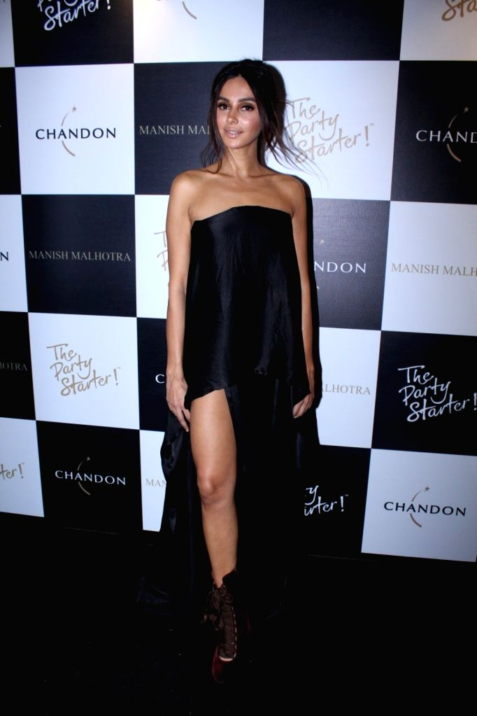 Singer and Actress Shibani Dandekar during the launch of Manish Malhotra X Chandon Champagne bottles Limited Edition End Of Year 2017 in Mumbai on Oct 9, 2017. - Shibani Dandekar