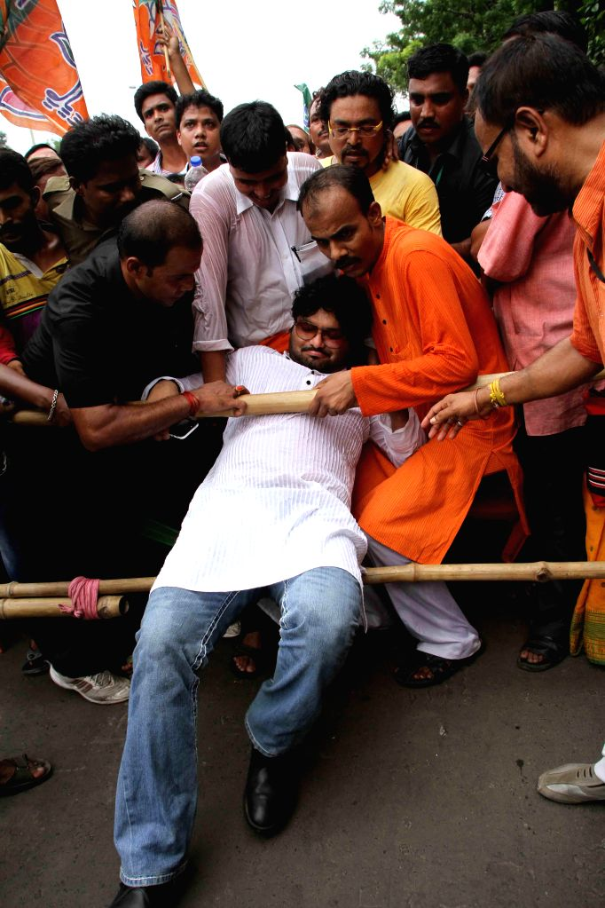 Singer and BJP MP from Asansol Babul Supriyo during a protest rally against West Bengal Government in Kolkata on June 23, 2014.