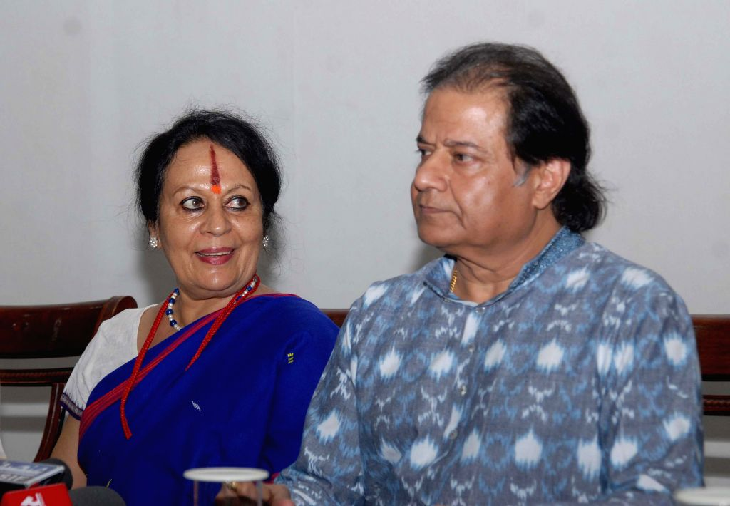 Singer Anup Jalota and Indian classical dancer  Sonal Mansingh during an interactive session organised to express their support for BJP Prime Ministerial candidate and Gujarat Chief Minister Narendra - Narendra Modi