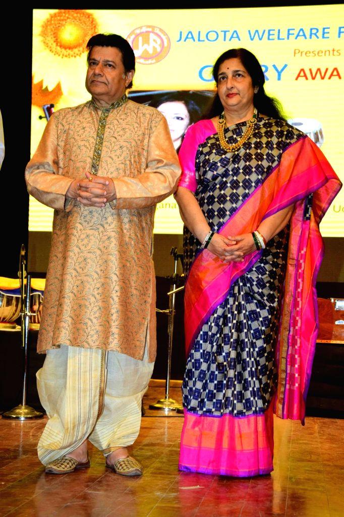 Singer Anup Jalota and singer Anuradha Paudwal during the annual Glory Awards 2016, in Mumbai, on Jan 19, 2016.